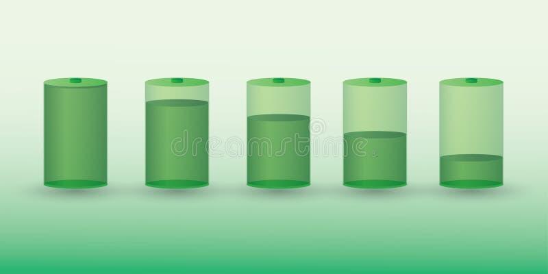 En uppsättning av det gröna uppladdningsbara batteriet med den olika laddningen jämnar stock illustrationer