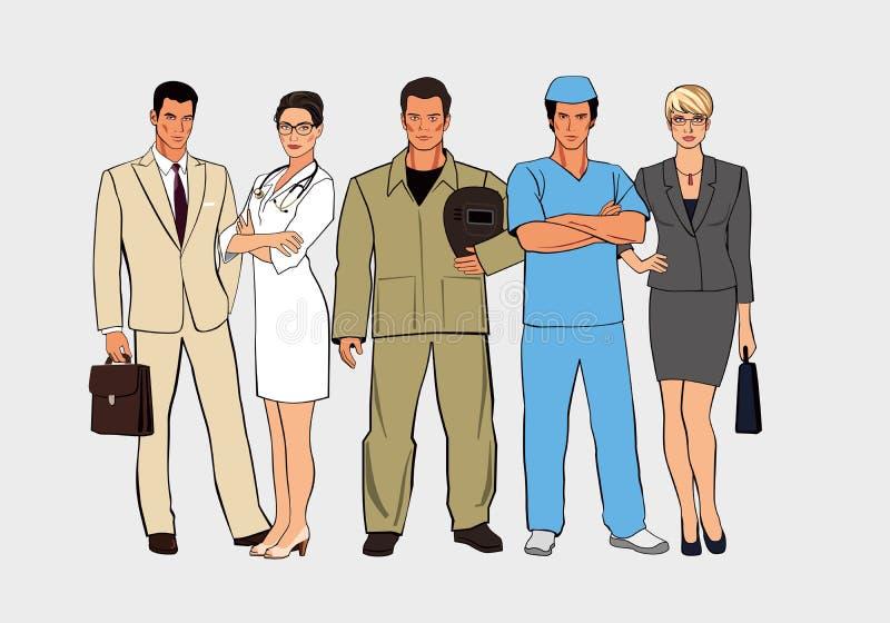 En uppsättning av diagram av olika yrken Män och kvinnor i olika likformig står tillsammans vektor illustrationer