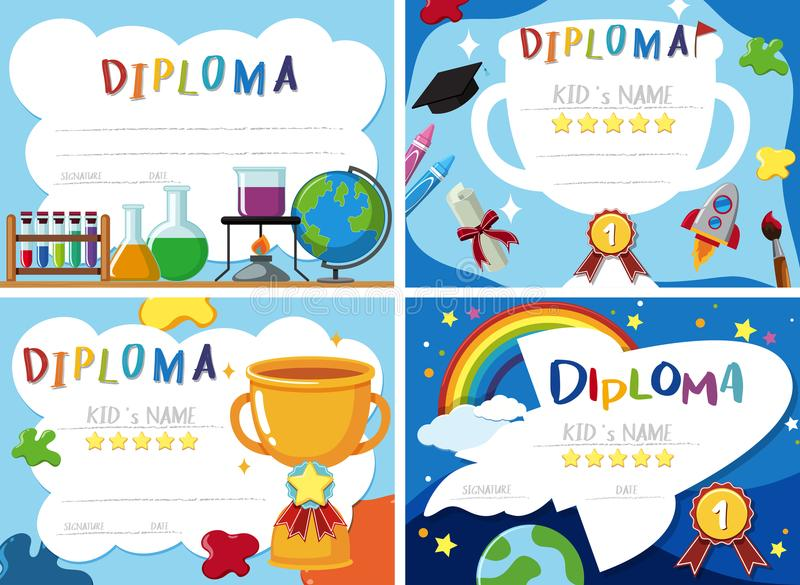 En uppsättning av diplomcertifikatet stock illustrationer