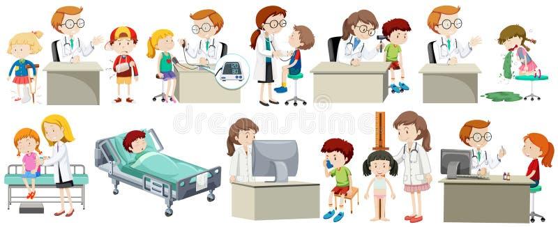 En uppsättning av doktorn och ungen stock illustrationer