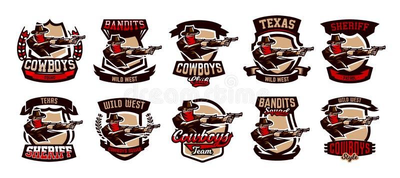 En uppsättning av emblem, logoer, cowboyskytte från två revolvrar Löst västra, en bandit, Texas, en rånare, en sheriff, en brotts royaltyfri illustrationer