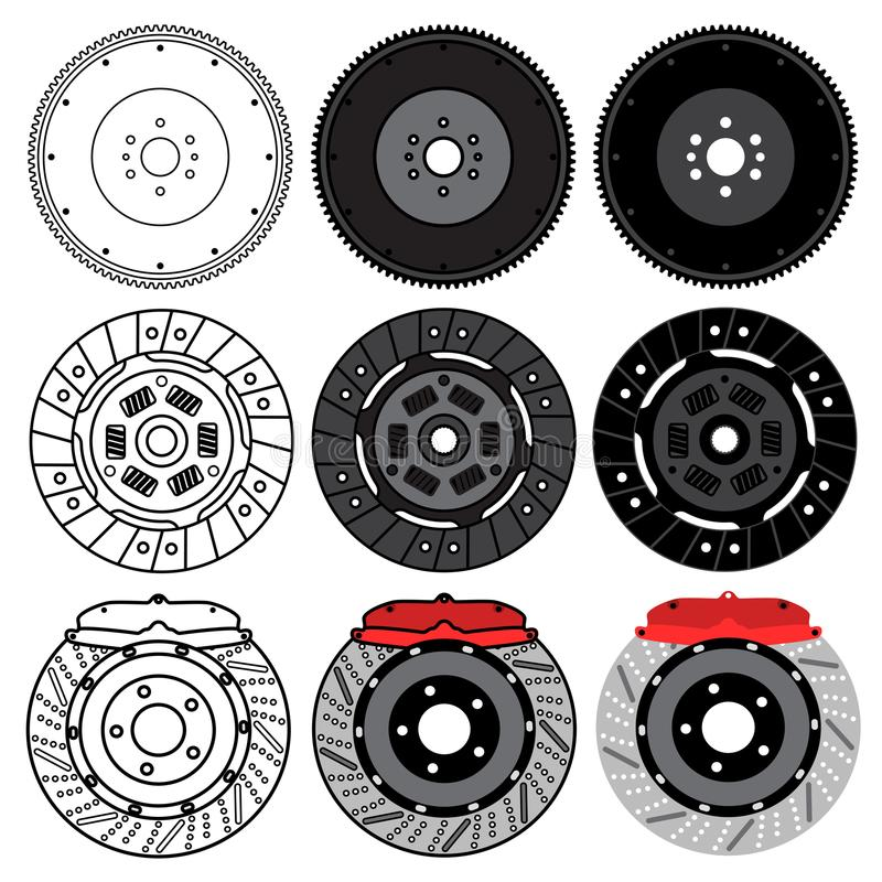 En uppsättning av extra- bildelar för bilunderhåll Svänghjul bromsblock, bromsdiskett bakgrund isolerad white royaltyfri illustrationer