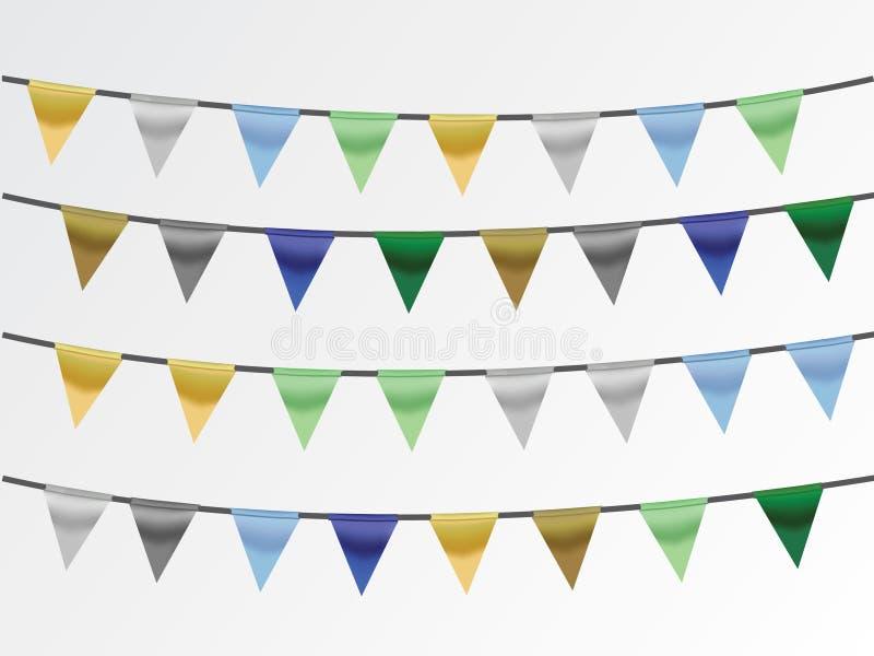 En uppsättning av färgrika band på rep i blå bakgrund för att dekorera huset och kontoret royaltyfri illustrationer