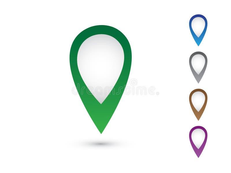 En uppsättning av färgrika knappnålsspetsar för att markera på ljus bakgrund stock illustrationer