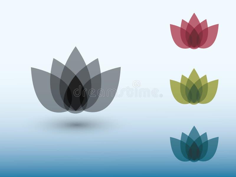 En uppsättning av färgrika logoer för lotusblommablomma på ljus bakgrundsvektor vektor illustrationer
