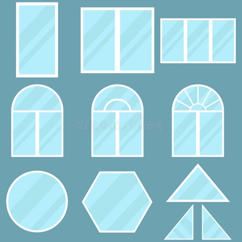 En uppsättning av fönster royaltyfri illustrationer