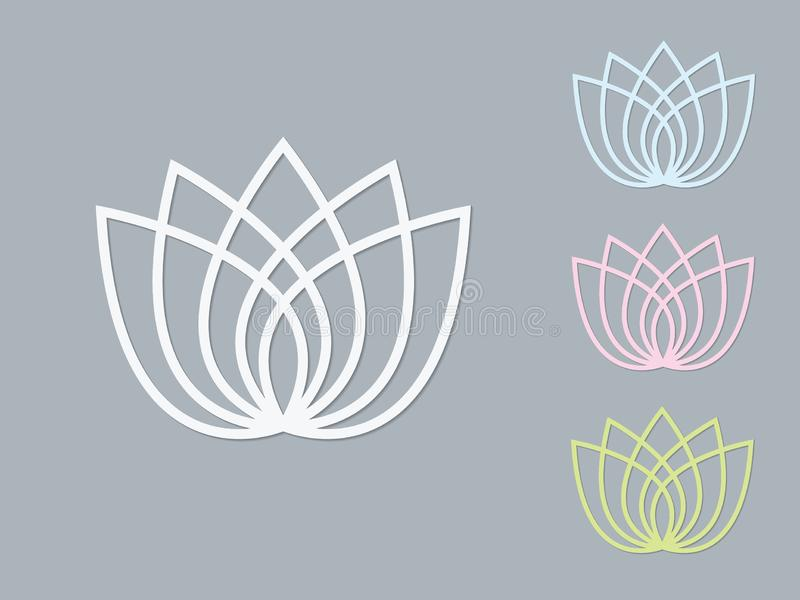 En uppsättning av för lotusblommablomma för ljusa färger logoer på mörk bakgrund vektor illustrationer
