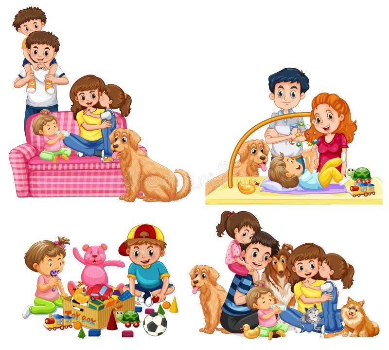 En uppsättning av familjen royaltyfri illustrationer