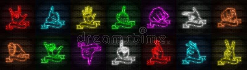 En uppsättning av fjorton variationer av mångfärgat neontecken på en bakgrund för tegelstenvägg Olika handgester vektor illustrationer