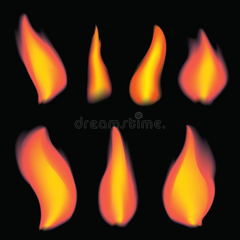 En uppsättning av flamman från en stearinljus En samling av realistiska brasor Vektoruppsättning av flamman royaltyfri illustrationer