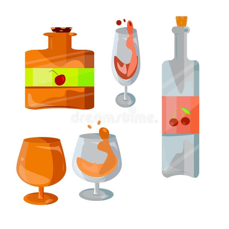 En uppsättning av flaskor och exponeringsglas av vin och konjak Olika drinkar med flaskor, exponeringsglas Alkoholdrycksymboler royaltyfri illustrationer