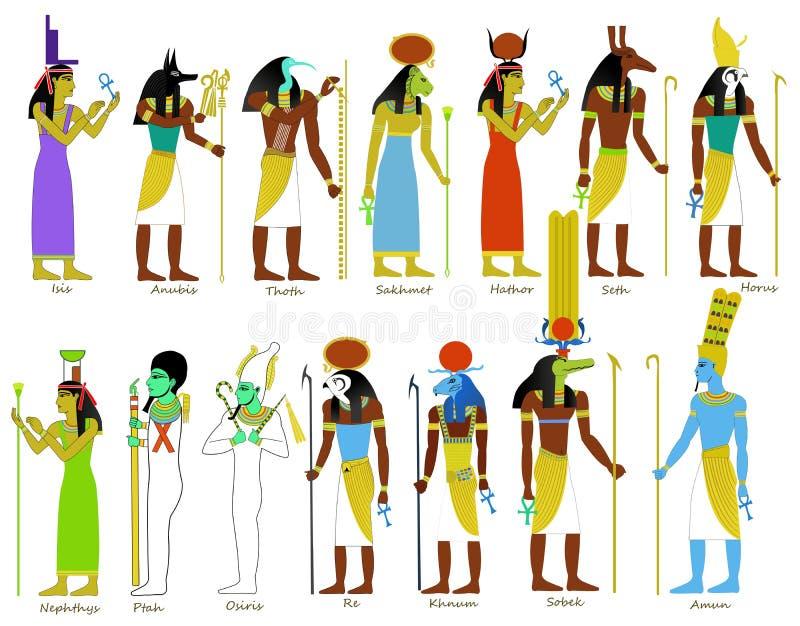 En uppsättning av forntida egyptiska gudar vektor illustrationer