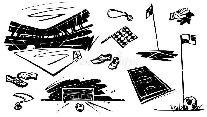 En uppsättning av fotbollobjekt Stadion medaljen, bollen, handskar, sjunker stock illustrationer