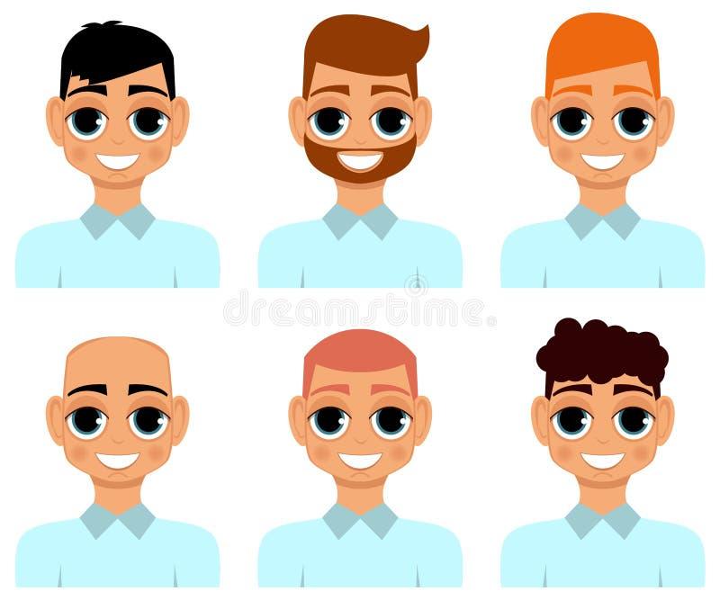 En uppsättning av frisyrer för man` s vektor royaltyfri illustrationer