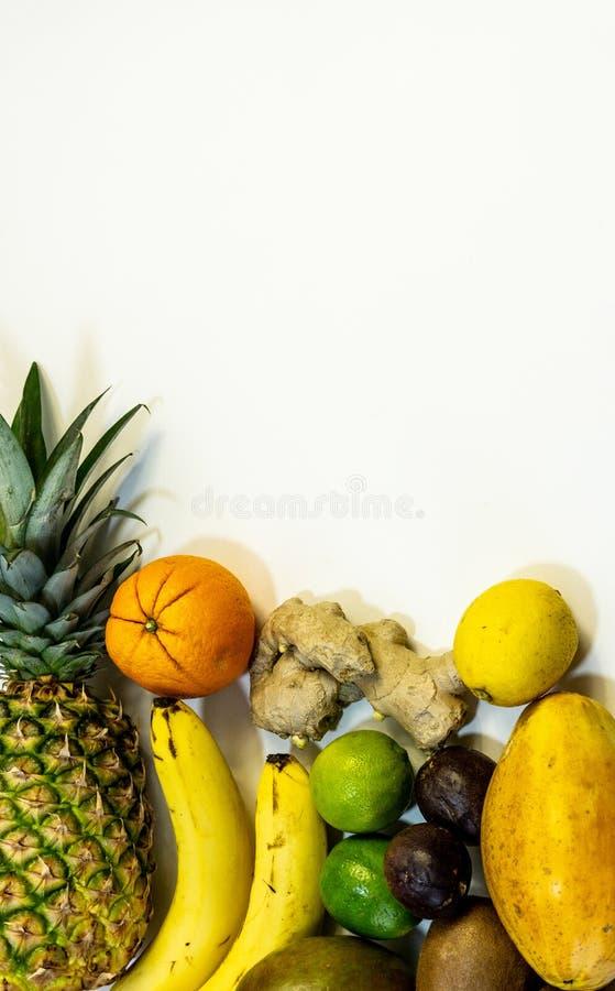En uppsättning av frukter, ett plan av boken, längst ner och fritt utrymme för frukt upptill av fotoet royaltyfri fotografi