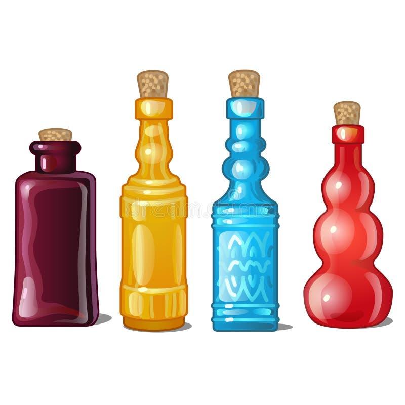 En uppsättning av göra hack i exponeringsglas färgade flaskor också vektor för coreldrawillustration vektor illustrationer