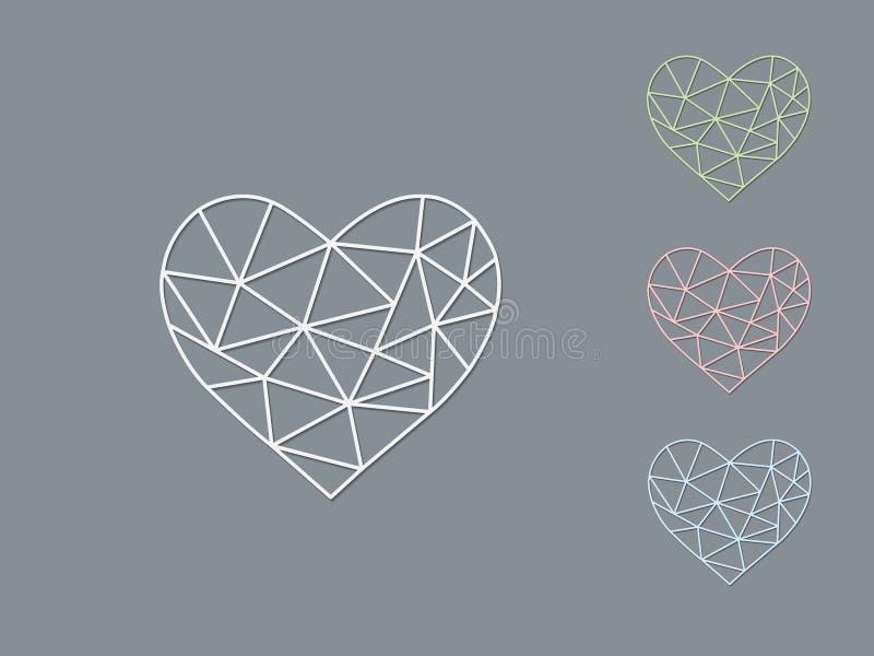 En uppsättning av geometriska hjärtaformer för ljus färg av framställning av förälskelse med skugga på mörk bakgrund stock illustrationer