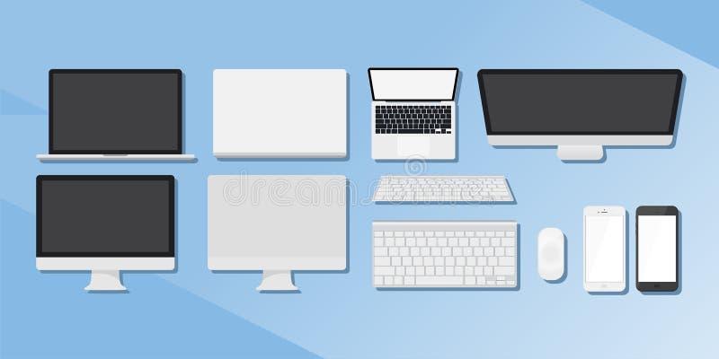 En uppsättning av grejer Datorer, telefoner och minnestavlor royaltyfri illustrationer
