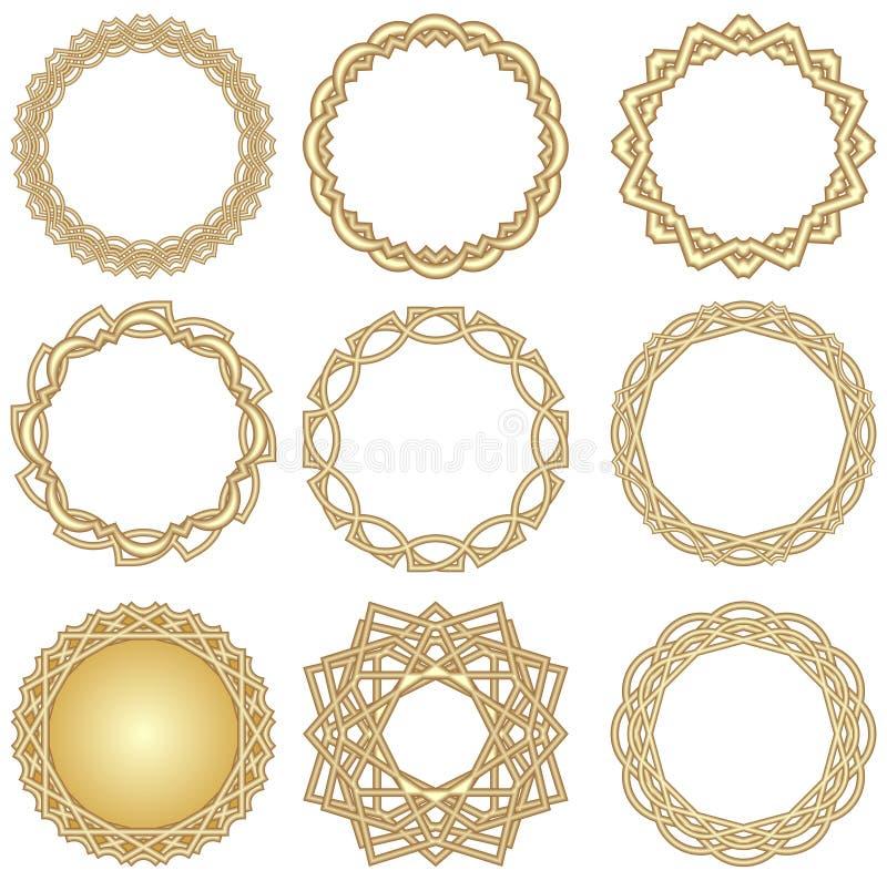 En uppsättning av guld- dekorativa cirkelramar i art décostil vektor illustrationer