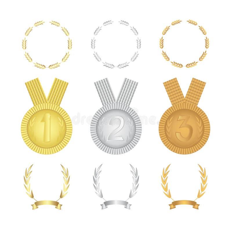 En upps?ttning av guld, silver, bronsmedaljer, kransar och tecken av vinnarna Isolerad vektorillustration vektor illustrationer