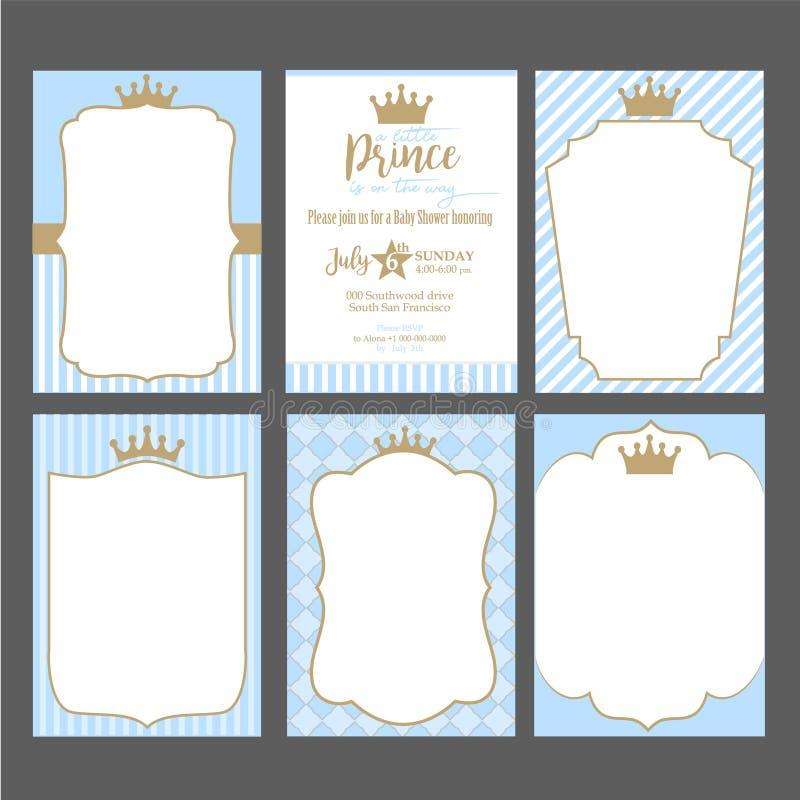 En uppsättning av gulliga blåa mallar för inbjudningar Guld- ram för tappning med kronan Lite prinsparti royaltyfri illustrationer
