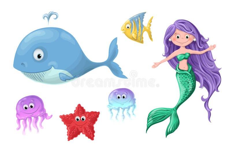 En uppsättning av gulliga nautiska invånare för rolig tecknad film - en sjöjungfru, ett val, en fisk, en sjöstjärna och manet vektor illustrationer