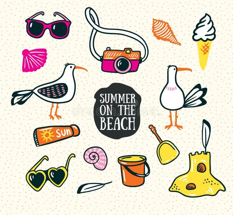 En uppsättning av gulliga sommar- och strandsymboler Tecknad illustration för vektor hand royaltyfri illustrationer