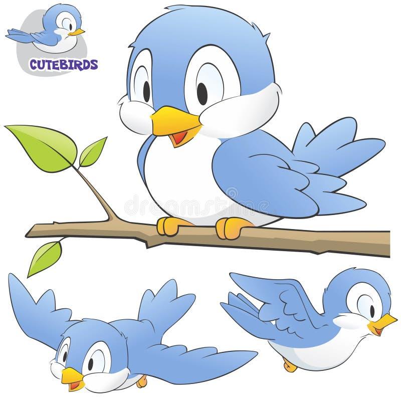 En uppsättning av gulliga tecknad filmfåglar stock illustrationer
