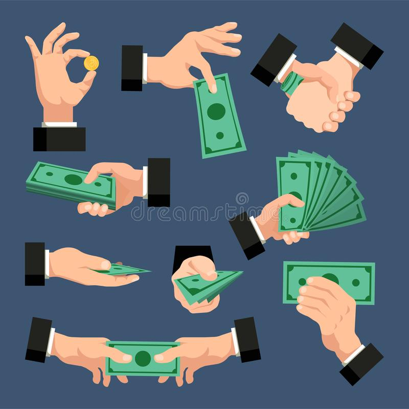 En uppsättning av händer med dollar, mynt, pengar på ett mörker - blå bakgrund bakgrundsbegreppet bantar guld- äggfinans också ve royaltyfri illustrationer