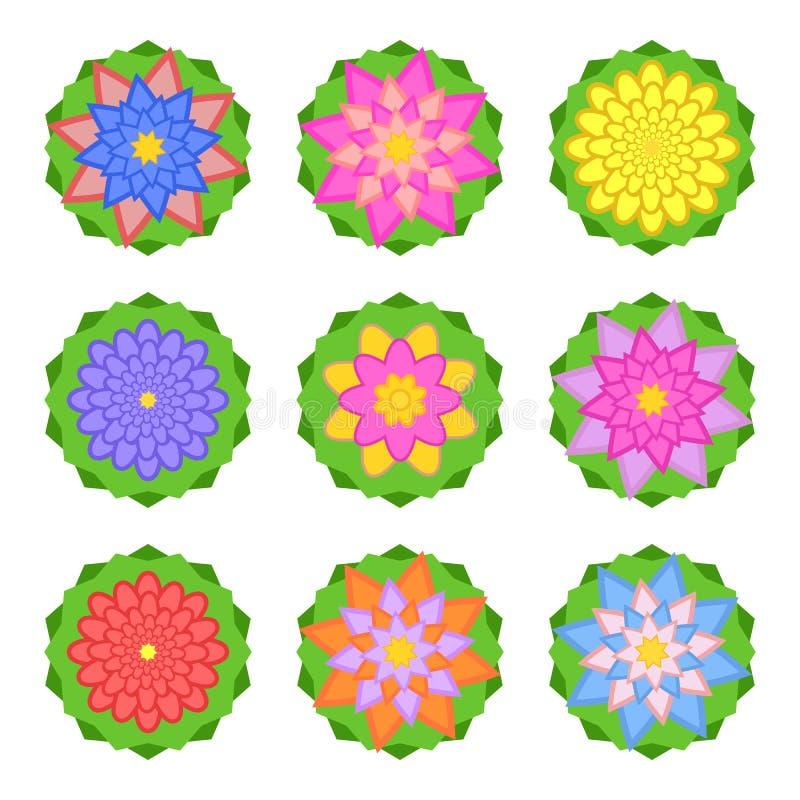 En uppsättning av härliga färger av olika skuggor på gröna sidor bakgrund isolerad white Nio alternativ passande f?r design vektor illustrationer