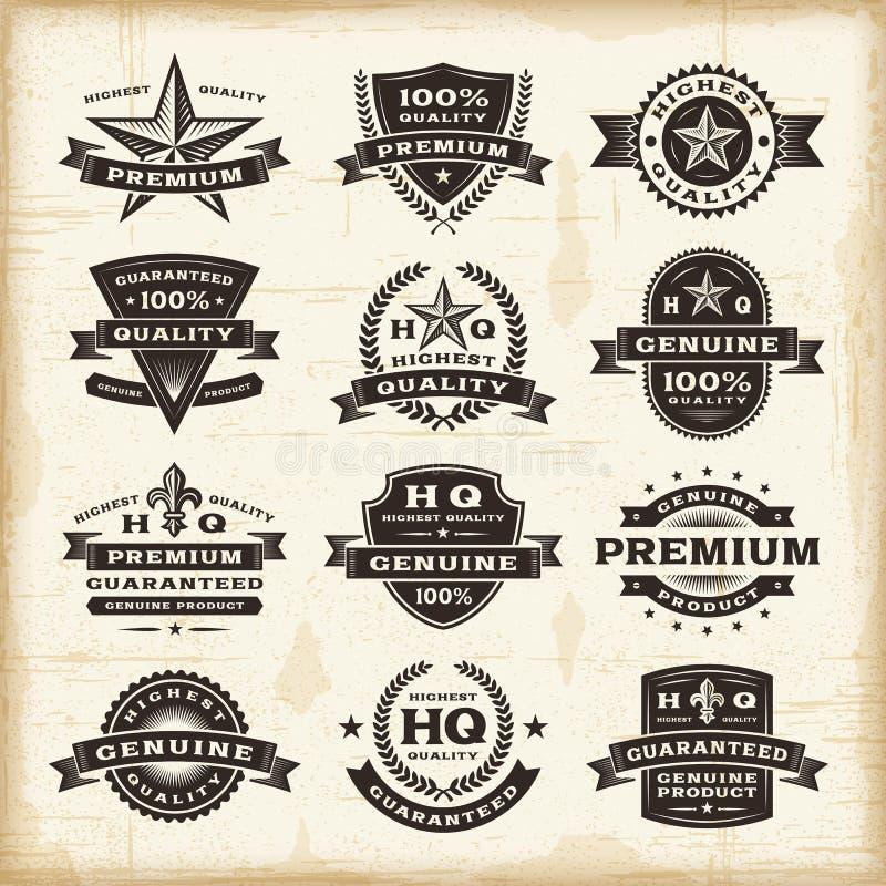 Fastställda högvärdiga kvalitets- etiketter för tappning stock illustrationer