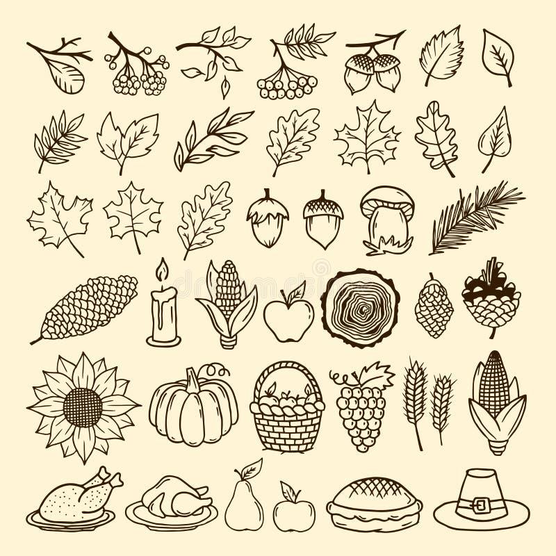 En uppsättning av handgjorda höstbeståndsdelar av naturen Beståndsdelar av designen för tacksägelse och festmåltiden av hösten stock illustrationer