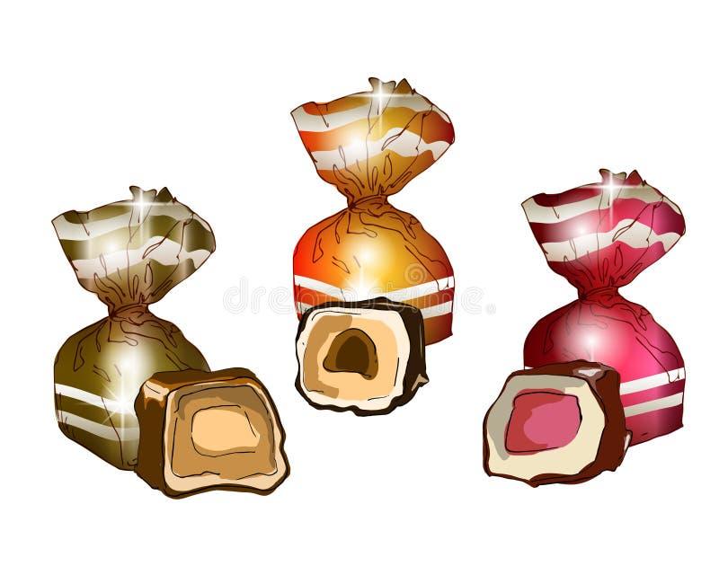 En uppsättning av hela packade för sötsaker och snitthalvor med stoppning royaltyfri illustrationer