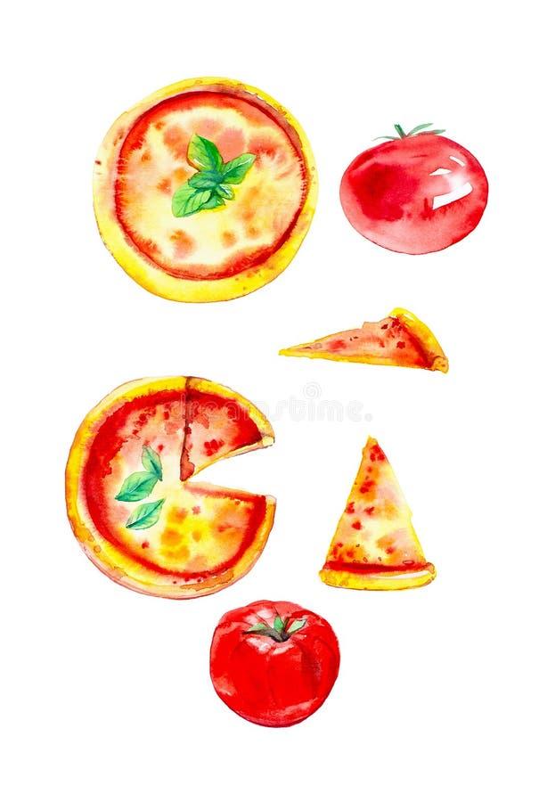 En uppsättning av hela pizza, skivor av pizza och tomater Vattenfärgillustration som isoleras på vit bakgrund vektor illustrationer