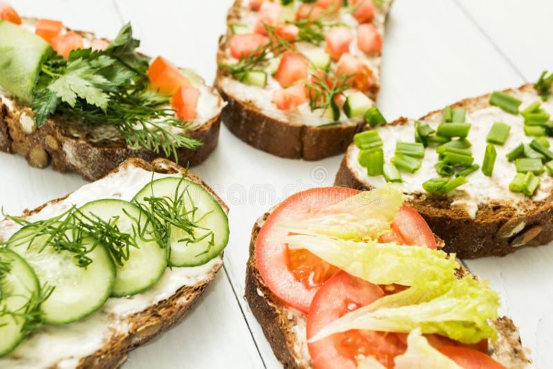En uppsättning av hemlagade vegetariska mellanmål på en vit bakgrund royaltyfri fotografi