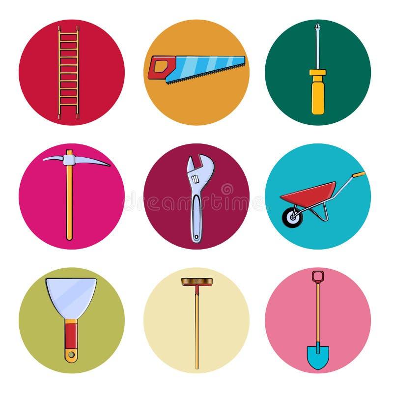 En uppsättning av hjälpmedel för byggnadsreparation rundar symboler för hemmet, lägenheten som arbeta i trädgården objektstegen,  vektor illustrationer