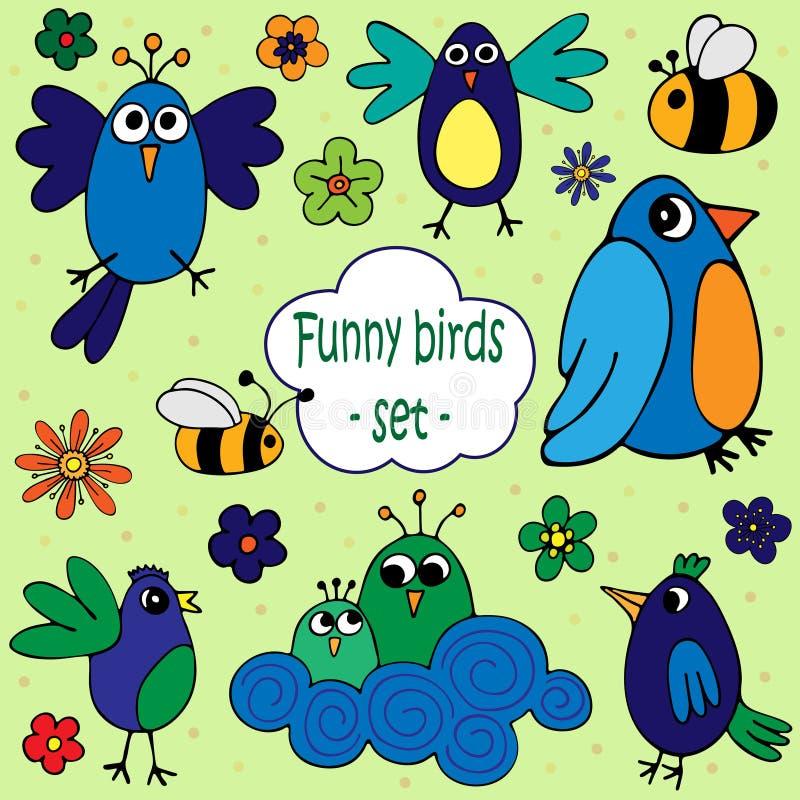 En uppsättning av illustrationer av roliga fåglar med blommor och bin vektor illustrationer