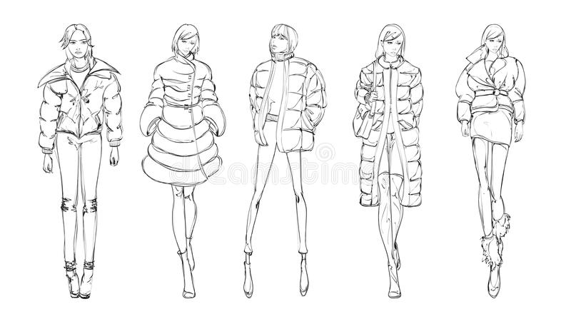 En uppsättning av innegrej skissar Höst-vinter 2018 royaltyfri illustrationer