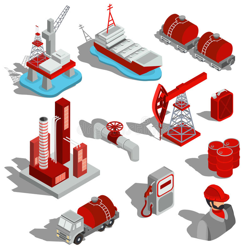 En uppsättning av isolerade isometriska illustrationer, symboler 3D av oljeindustrin royaltyfri illustrationer