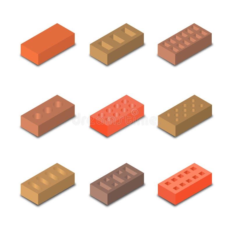 En uppsättning av isometriska tegelstenar, vektorillustration royaltyfri illustrationer