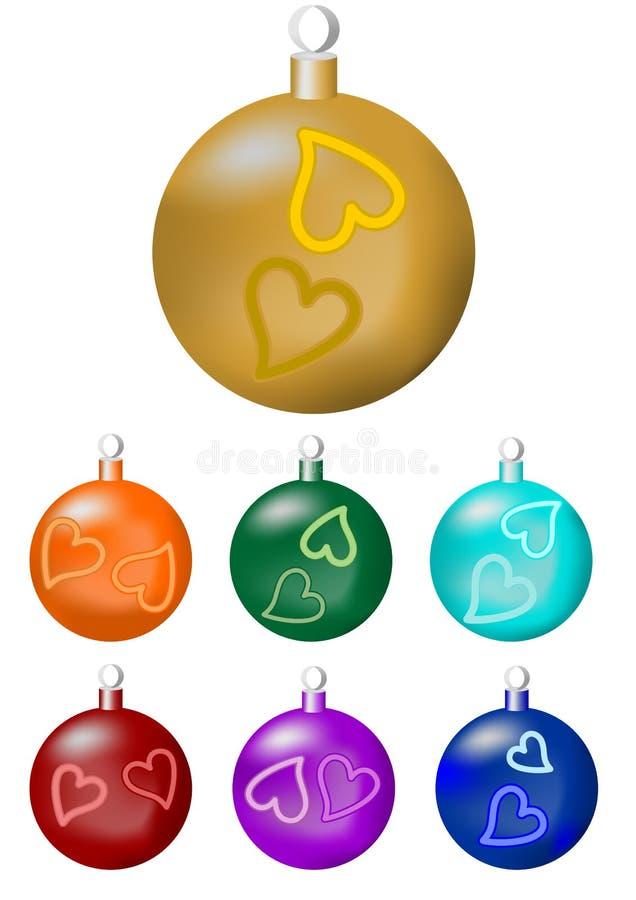 En uppsättning av julbollar i sju färgvarianter stock illustrationer