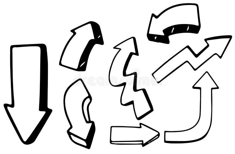 En uppsättning av klotterpilar stock illustrationer