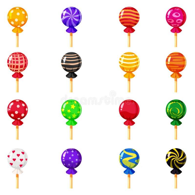 En uppsättning av kulöra godisar, klubba, karamell, olika ljusa färger Sötsaker vektor som isoleras, tecknad filmstil royaltyfri illustrationer