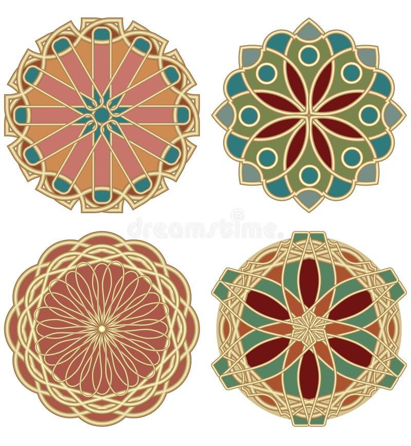En uppsättning av kulöra stjärnor i design av art décomålat glass i guld- material stock illustrationer