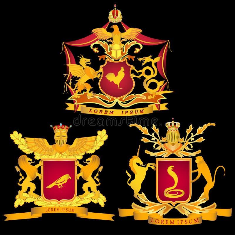 En uppsättning av kungliga tre eller chevalereska armar på en svart bakgrund stock illustrationer
