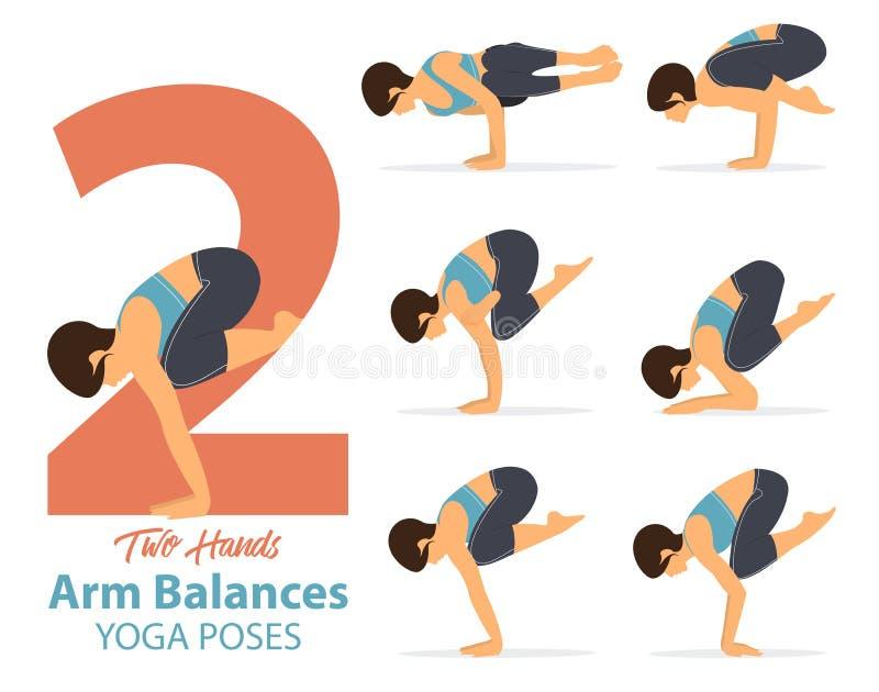 En uppsättning av kvinnliga diagram för yogaställingar för Infographic 6 yoga poserar för anseende för armjämviktshand stock illustrationer