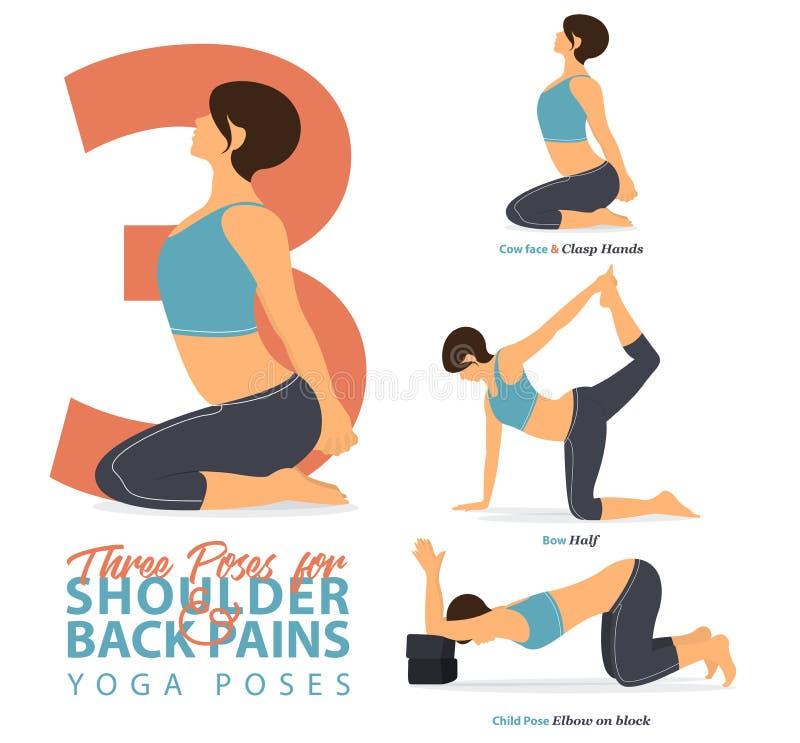 En uppsättning av kvinnliga diagram för yogaställingar för Infographic 3 yoga poserar för lägre skuldra för lättnad, och tillbaka royaltyfri illustrationer