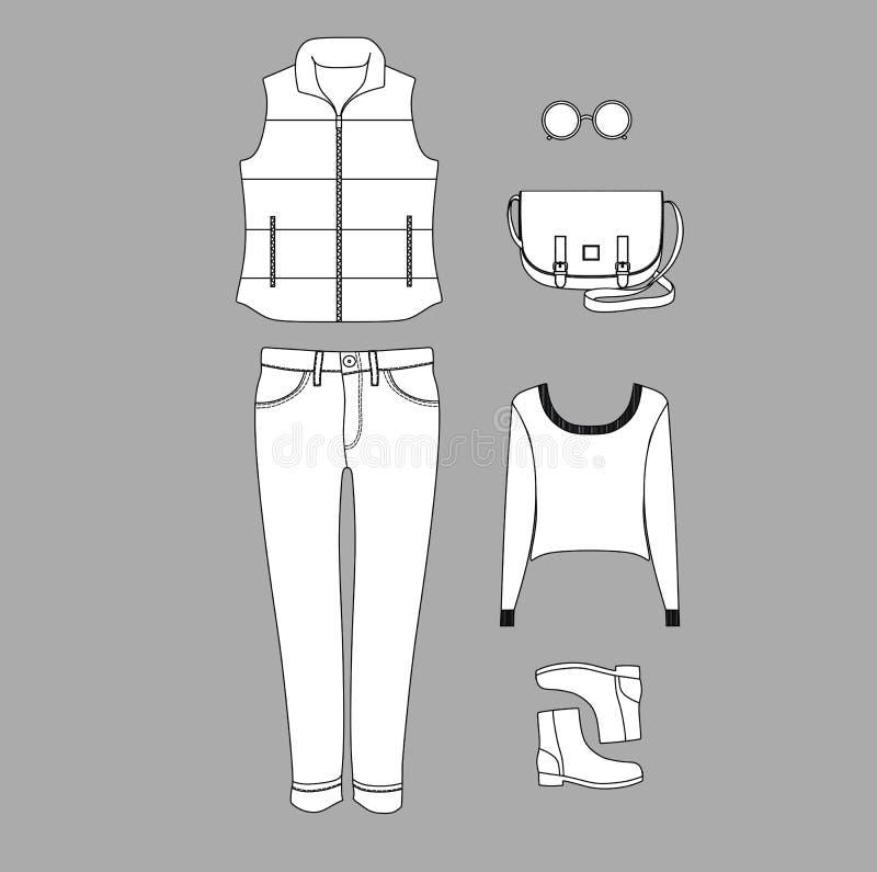 En uppsättning av kvinnors kläder Jeans pullover blowgunen Skor En påse punkter vest stock illustrationer