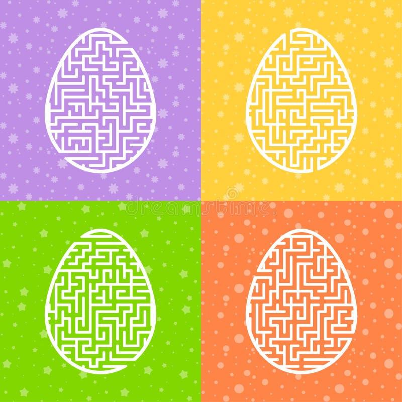 En uppsättning av labyrinter modiga ungar Pussel för barn Labyrintgåta Tecknad filmstil Visuella arbetssedlar Aktivitetssida Färg vektor illustrationer