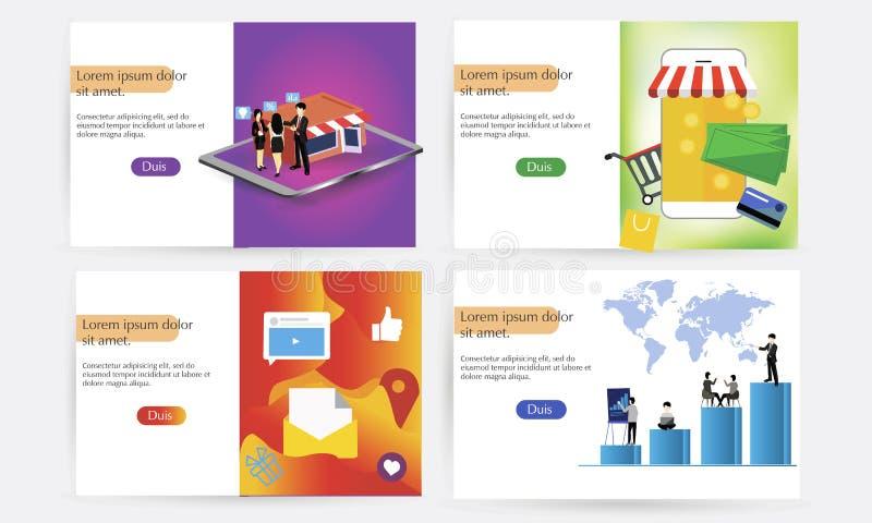 En uppsättning av landningsidamallar för online-köp, digital marknadsföring, teamwork, affärsstrategi Moderna begrepp stock illustrationer